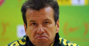 Brazil coach Dunga speaks during a press conference after the training session at the Emirates Stadium, London.