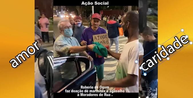 Roberio de Ogum, Dia de Ação Social: Doação de roupas a moradores de rua.